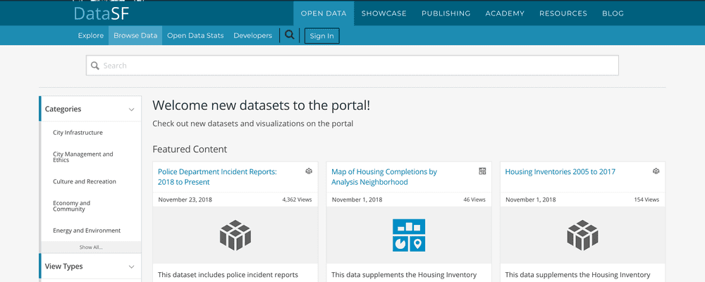 Screenshot of the open data catalog search page.""
